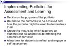 implementing portfolios for assessment and learning
