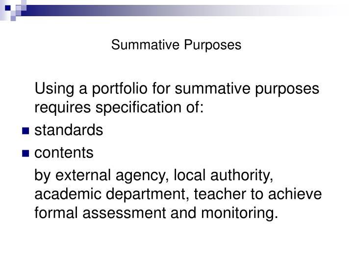 Summative Purposes