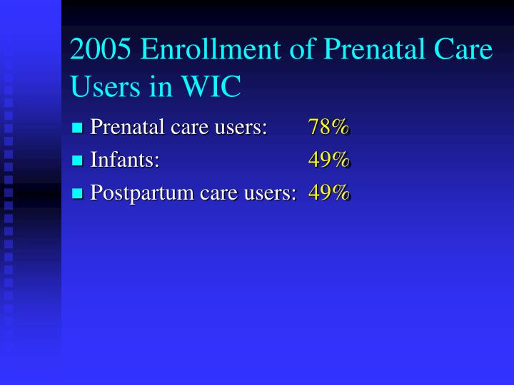 2005 Enrollment of Prenatal Care Users in WIC