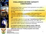 challenges severe capacity constraints