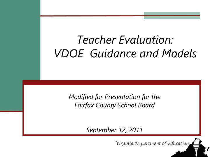 teacher evaluation vdoe guidance and models n.