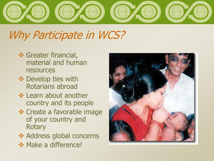 Why Participate in WCS?