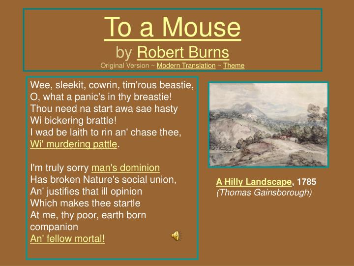 to a mouse by robert burns original version modern translation theme n.