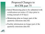 proposed changes to 40 cfr part 75