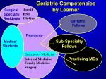 geriatric competencies by learner