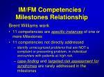 im fm competencies milestones relationship