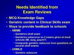 needs identified from exam reviews