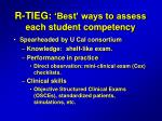 r tieg best ways to assess each student competency