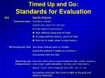timed up and go standards for evaluation