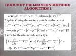 godunov projection method algorithm 1