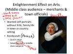 enlightenment effect on arts middle class audience merchants town officials