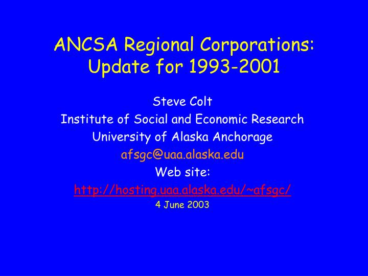 ancsa regional corporations update for 1993 2001 n.