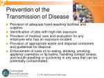 prevention of the transmission of disease1