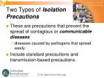 two types of isolation precautions