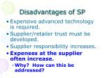 disadvantages of sp