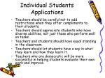 individual students applications