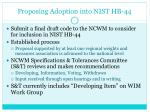 proposing adoption into nist hb 44