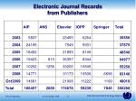 electronic journal records from publishers