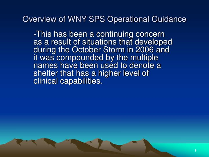 overview of wny sps operational guidance n.