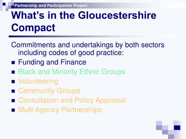 What's in the Gloucestershire Compact