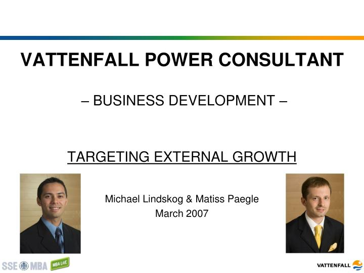 vattenfall power consultant business development targeting external growth n.
