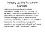industry leading practice or standard
