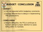 budget conclusion