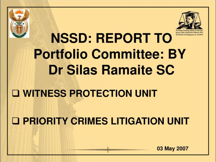 nssd report to portfolio committee by dr silas ramaite sc n.