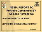nssd report to portfolio committee by dr silas ramaite sc