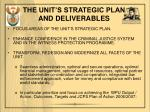 the unit s strategic plan and deliverables