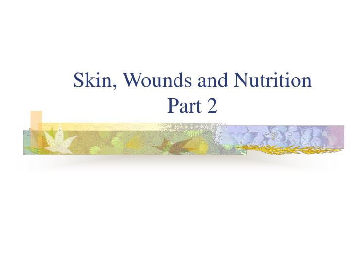 skin wounds and nutrition part 2 n.