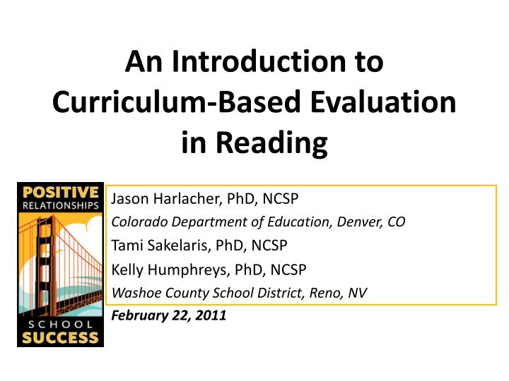 an introduction to curriculum based evaluation in reading n.