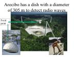 arecibo has a dish with a diameter of 305 m to detect radio waves