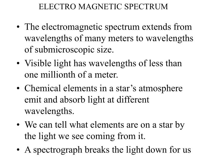 electro magnetic spectrum n.