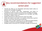 key recommendations for suggested action plan
