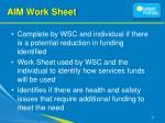 aim work sheet