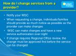 how do i change services from a provider