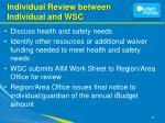 individual review between individual and wsc
