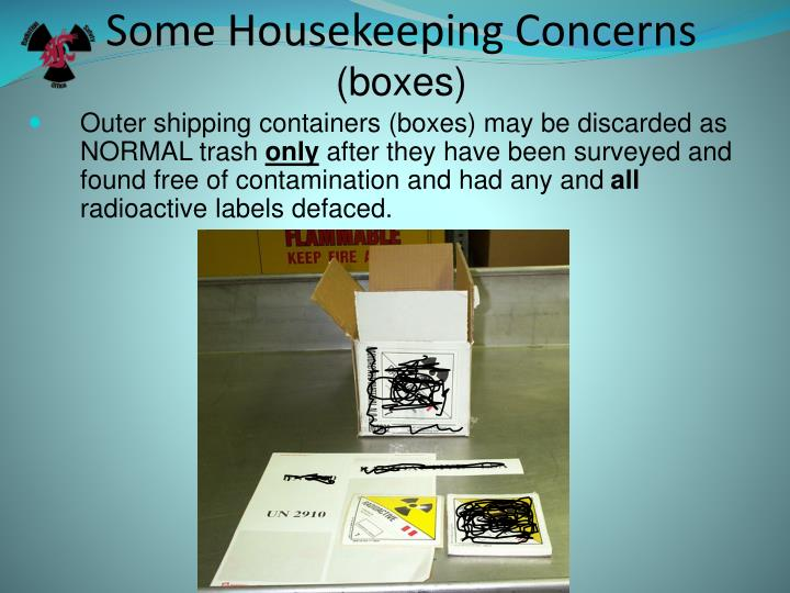 Some Housekeeping Concerns