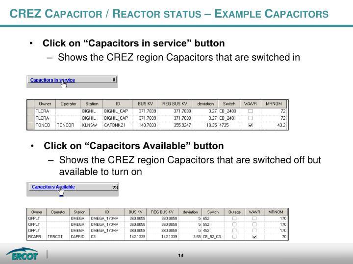 CREZ Capacitor / Reactor status – Example Capacitors