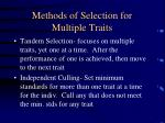methods of selection for multiple traits