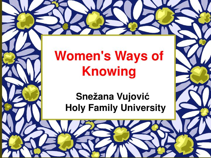 women s ways of knowing n.