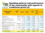 spending patterns and performance of the municipality with regards to conditional grants 2