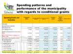 spending patterns and performance of the municipality with regards to conditional grants