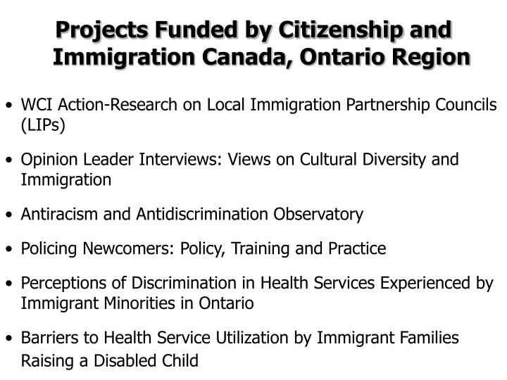 Projects Funded by Citizenship and Immigration Canada, Ontario Region