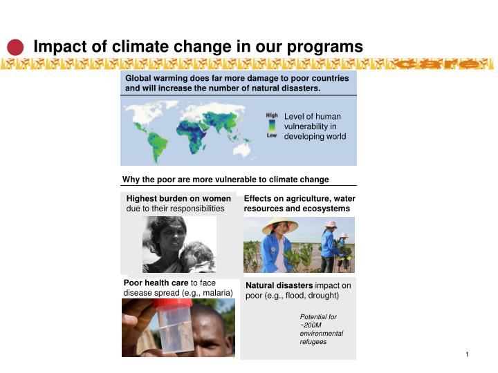 impact of climate change in our programs n.
