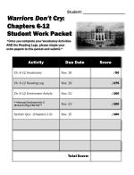 warriors don t cry chapters 6 12 student work packet