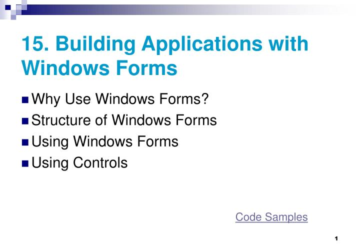 15 building applications with windows forms n.