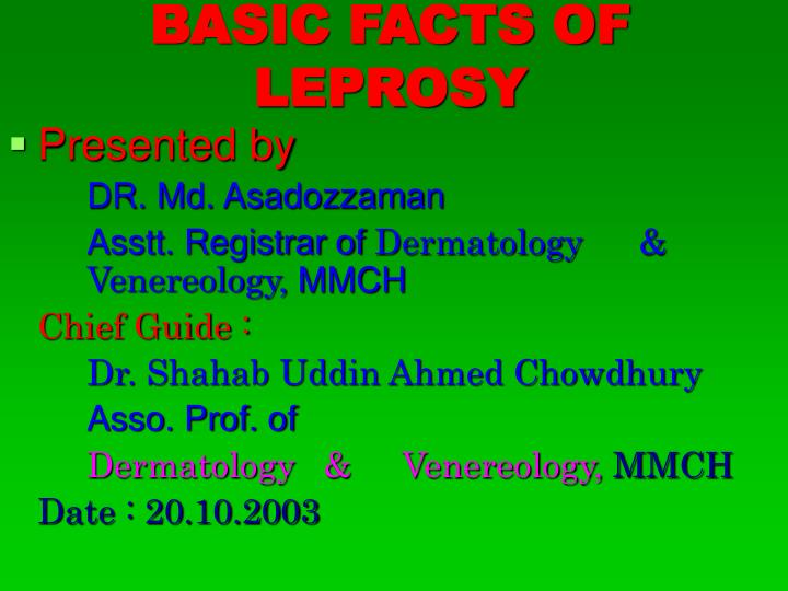 basic facts of leprosy n.