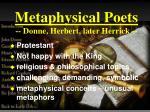 metaphysical poets donne herbert later herrick